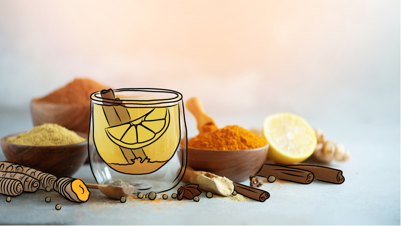 An assortment of herbs, spices and fruit beneficial to the liver