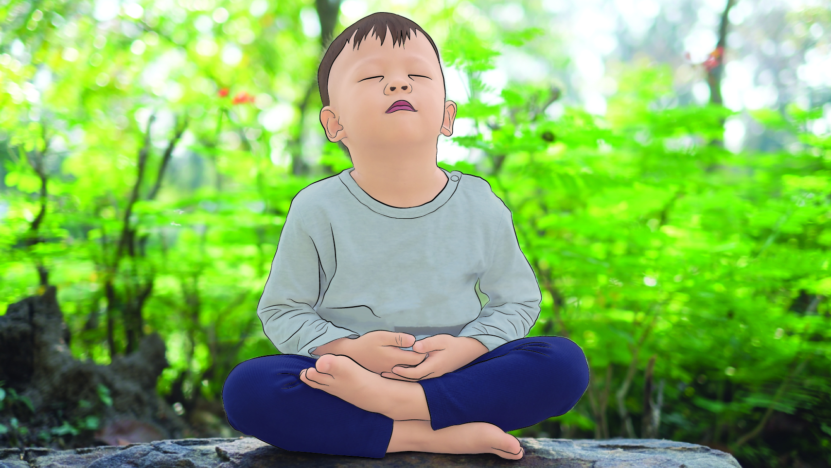 Very young boy with his eyes closed in meditation