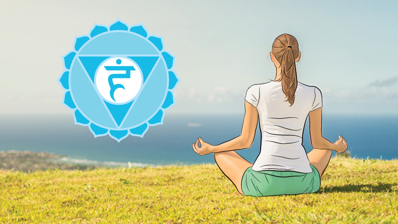 A woman meditating with the throat chakra symbol.