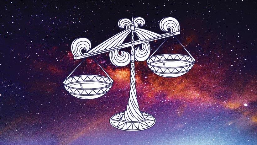 A graphic of the zodiac sign libra.