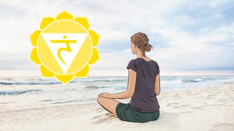 A woman meditating with the navel chakra symbol.