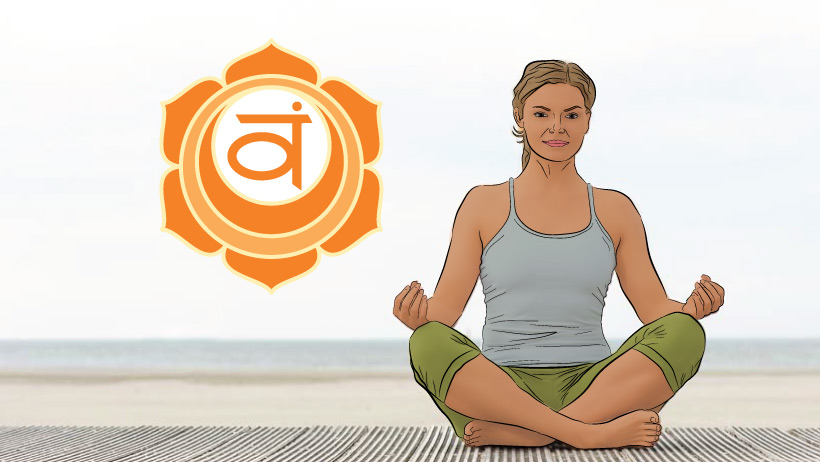 A woman meditating with the sacral chakra symbol.