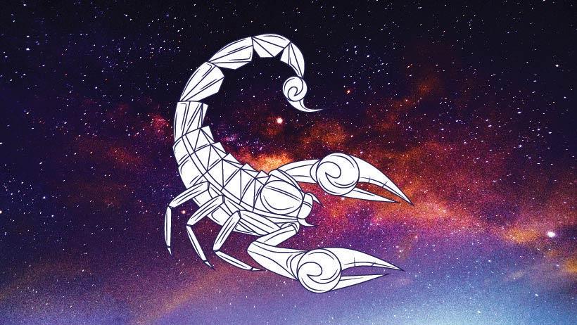 A graphic of the zodiac sign scorpio.