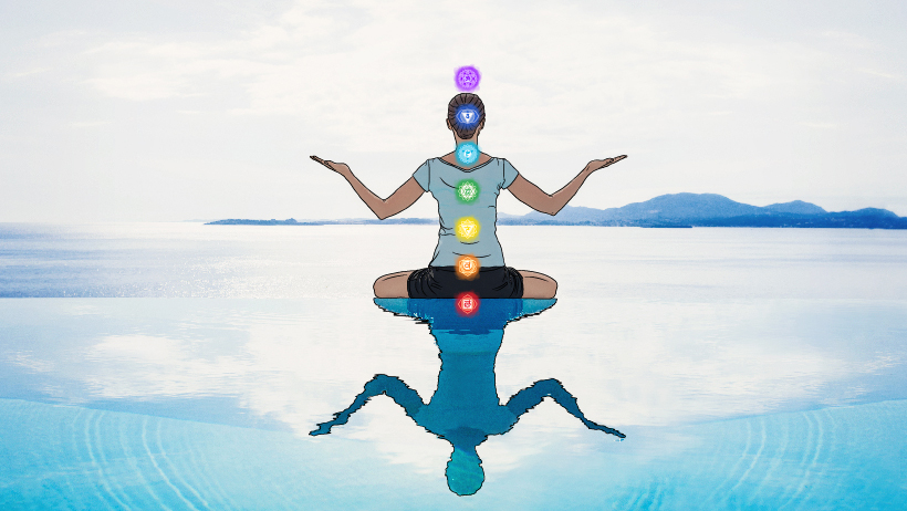 A woman meditating with all the chakra symbols.