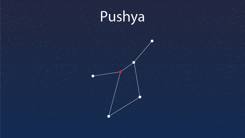 A star constellation of pushya.