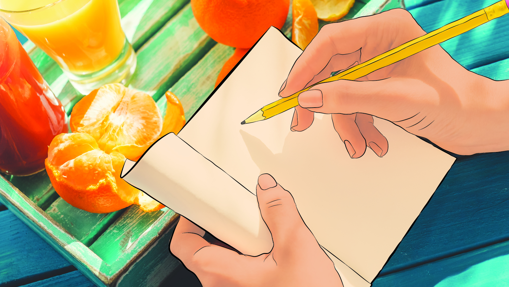 A person writing in a journal by a table with food on it.