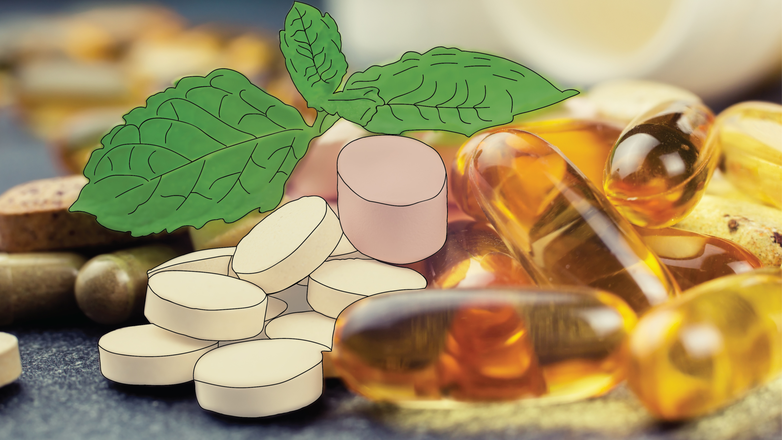 A variety of different supplements and vitamins