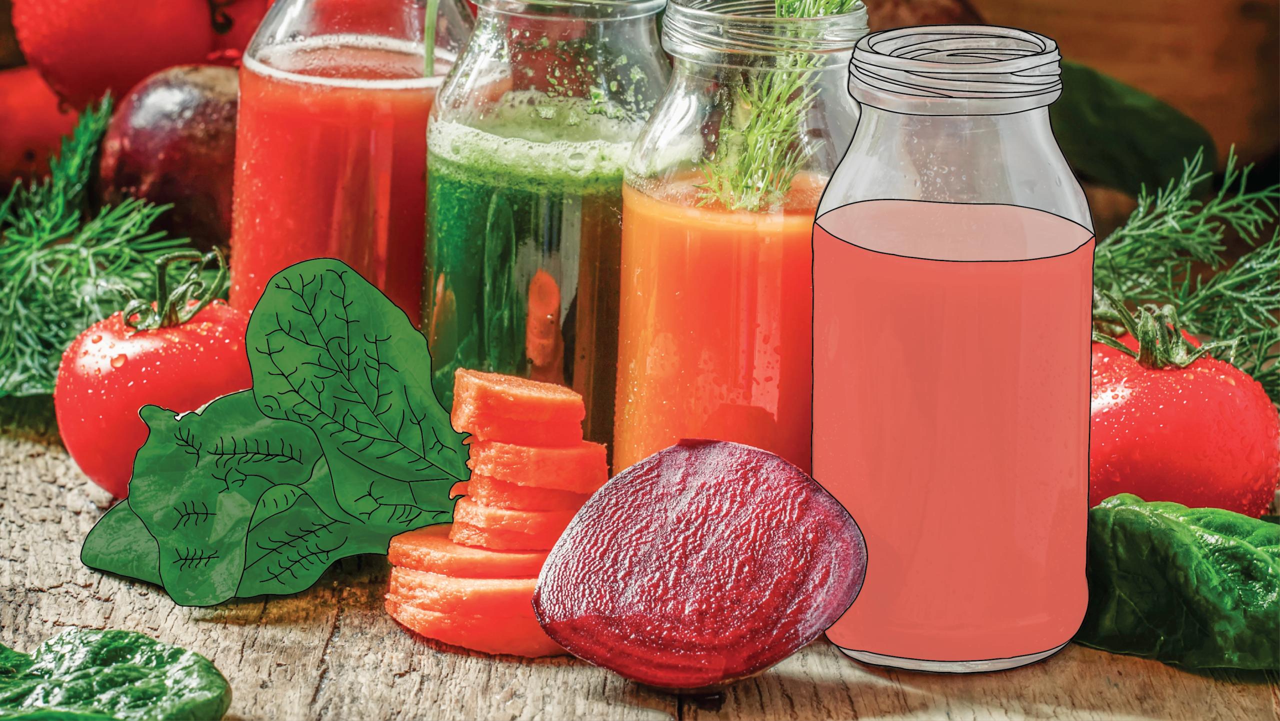 Assorted jars of vegetable juices