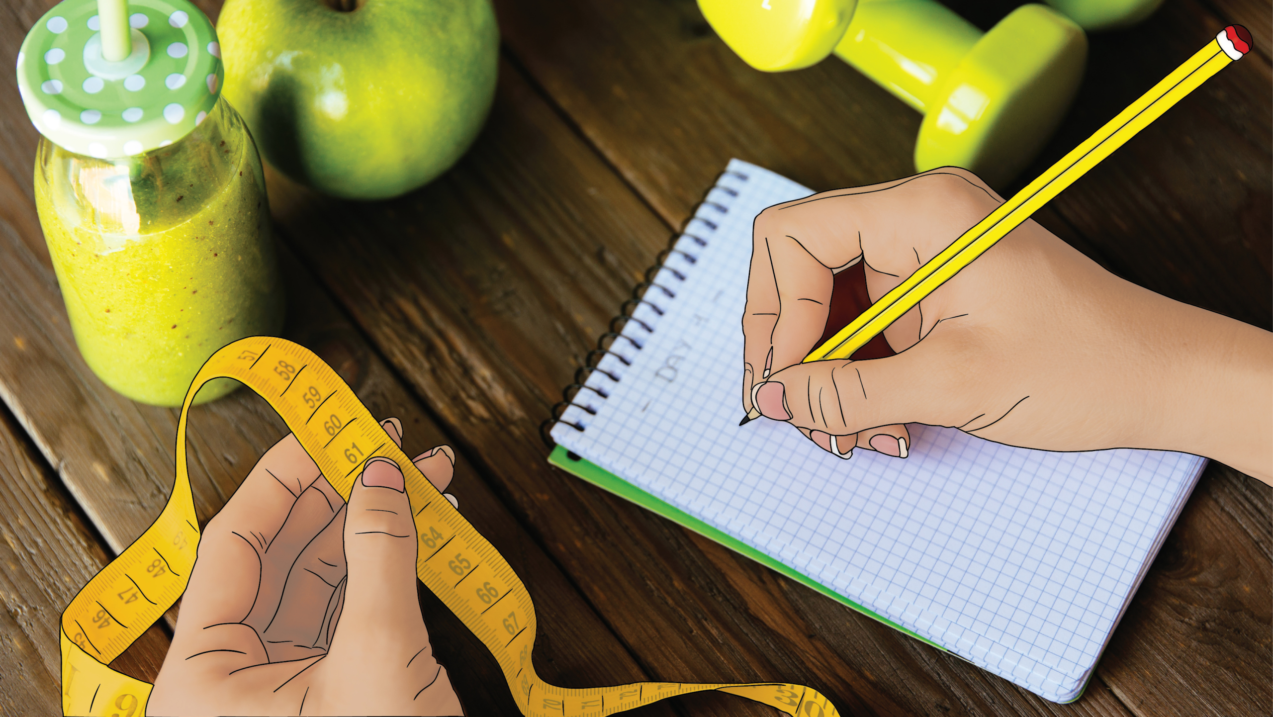 A woman writing in a notepad with one hand and holding a measuring tape in the other